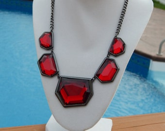 Red Necklace, Dark Red Gunmetal Setting Asymmetrical Statement Necklace, Red Jewelry