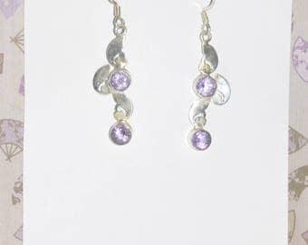 Earrings Sterling Silver Amethyst #G09b