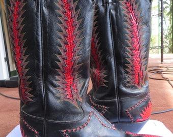 """Tony Lama Women's  Western """"Firewalker"""" Cowboy BOOTS RED LIZARD Black Leather  9M"""