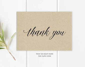 Calligraphy Thank You Card Template | Thank You Card | Thank You Template | Thank You Printable | Thank You Card Template | Instant Download