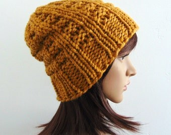 Chunky Knit Mustard Hat - Gold Knitted Beanie - Slouchy Hat - Made in Alaska - Gift for Her - Winter Hats - Gift Under 30 - Burnt Mustard