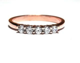 Diamond Band Ring - Band Ring - Rose Gold Ring - 925K Silver Zirconia Ring