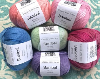CEY SANIBEL Yarn +Free Patterns 8.50 +1.50ea to Ship Cotton Rayon with Shiny Strand Peach Light Pink Magenta Blue Lavender Green MSRP 10.95