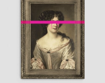 Large Canvas Art Print - The Damaged Duchess // Premium Eclectic Modern Punk Pop Art Cool Wall Decor // Hot Pink Spray Paint