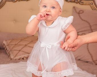 baby girl baptism dress, white onesie, christening outfit, summer christening dress, baby dress, toddler girl christening, pettiskirt onesie
