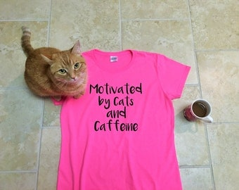 Cat lover gift, Funny tees, t shirt workout, wife gift, inspirational tees, Cat shirt, pet mom, Cats and Caffeine, coffee, girlfriend gift