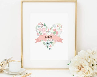 Pink Floral Heart Printable Personalized Nursery Wall Art Heart Print Girl Nursery Decor Pink and Mint Nursery Art Nursery Letters Blush 259