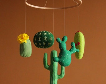 Baby mobile Green nursery Cactus baby mobile Modern nursery Green baby mobile Western nursery Cactus nursery Crib mobile Nursery mobile