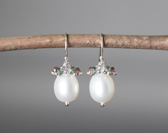 White Pearl Earrings - Pearl and Gemstone Earrings - Mystic Quartz Earrings - Bridal Jewelry - Wire Wrapped Pearls - Anniversary Gift