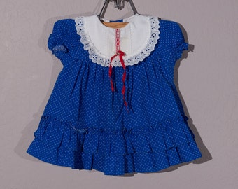 12 mo: Vintage Baby Girl Dress, 1980's Baby Girl Dress, Red, White and Blue Baby Dress