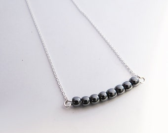 Beaded Bar Necklace, Choker Silver & Hematite Necklace, Bar Necklace, Delicate 925 Sterling Silver Necklace, Gift For Her