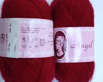 Pair of Crimson Red Yarn Skeins, Vintage Victorian Angel Deep Scarlet Red Mohair Yarn Destash Crochet Knitting Yarn Fiber Art Craft Project