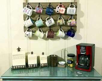 Kitchen decor, Coffee cup rack, coffee cup holder, wedding gift, mug holder, wedding gift, mug rack, rustic decor, housewarming gift