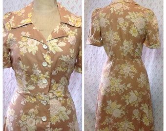 Lovely Vintage 1970's 40's style caramel floral cotton day dress/swing WW11 style /spring dress
