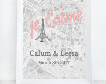 Je T'aime Print, Custom Anniversary Gift, Personalized Wedding Present, Vintage Paris Map, Art Print, Custom Wall Art Home Decor, Engagement