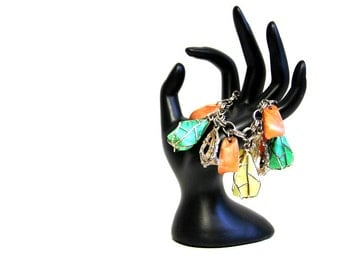 Vintage Bracelet with Multi Colored Stones in Metal Cages Unique Retro Jewelry / OSFM / Excellent Condition