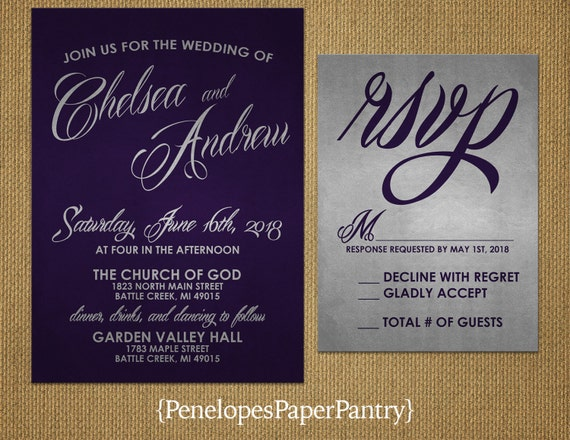 Silver And Purple Wedding Invitations: Elegant Purple And Silver Wedding Invitations Cursive Text
