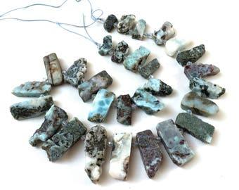 "Larimar rough rustic slab stick beads top drilled graduated gemstones 15.5"" strand"