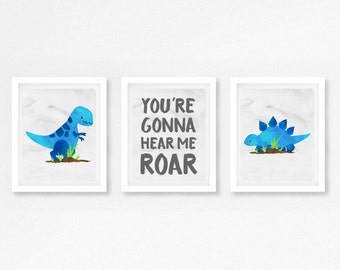 Dinosaur Nursery Decor, Baby Boy Dinosaur Gift, Dinosaur Baby Shower Gift, New Baby Boy Gift, Blue and Grey Dinosaur Nursery Prints