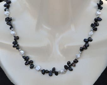 Black and White Fresh Water Pearl Necklace and Earring Set