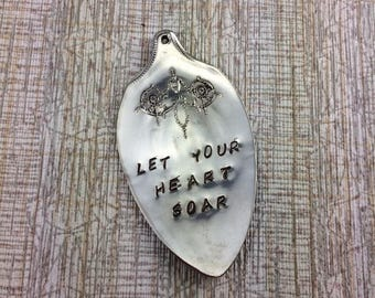 Let your heart soar spoon necklace, hand stamped spoon necklace, antique spoon necklace, spoon necklace
