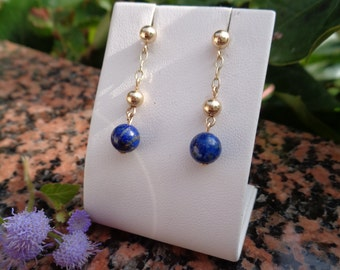 585-er gold with lapis lazuli, Gold ear studs earrings
