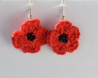 Red Crochet Poppy Earrings