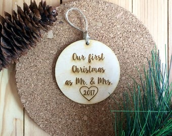 Our first christmas as mr mrs ornament engraved wood ornament with custom year