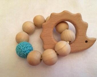 Small Hedgehog Natural Wood Teething Ring