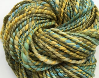 Forest - Hand Dyed Merino Aran Hand Spun Thick Thin Yarn - 100g 80m - Chunky