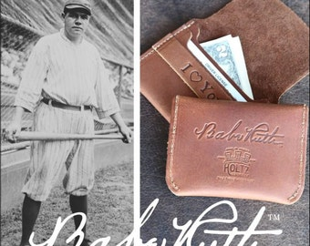 The Officially Licensed – No. 3 Babe Ruth – Signature Series – Fine Leather Front Pocket Wallet - Babe Ruth Collectable, Baseball Fan Gift