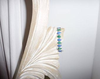 Silver 950 in malachite and lapis lazuli bracelet - 1970s