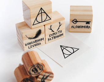 Harry Potter Stamp set, Wingardium Leviosa, Deatlhy Hallows Stamp, expecto patronum, alohomora, 9 3/4, golden snitch, harry potter wedding