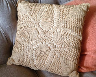 Vintage Crocheted Pillow, Handmade Pillow