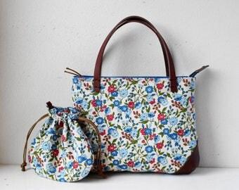 Small bag with small kinchaku(Blue small flowers)