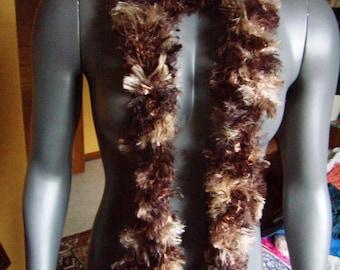 scarf long fancy Brown boa, cowl, scarf, infinity, handmade, beige Brown