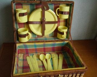 Wicker, doubled cotton picnic basket, basket, vintage