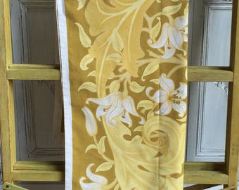Vintage 1970s Jonelle Tablecloth 55 x 55 inches - Mustard Yellow