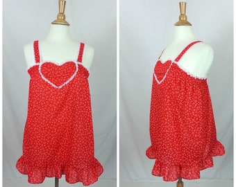 Vintage 1960's Nightgown Babydoll Red Hearts Print Pattern Lingerie Nightie A-Line Mod Ruffles Night Gown