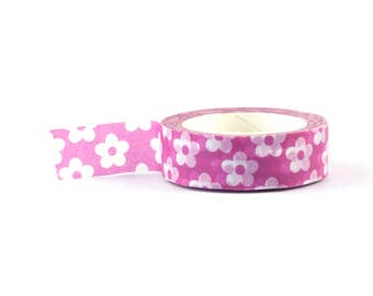 Flower pink and white Washi Tape - scrapbooking decorative masking tape, 10 meter, littleleftylou