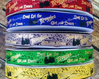 """USDR Don't Let the Muggles get you Down 7/8"""" Grosgrain Ribbon, Harry Potter Inspired Collection, US Designer Ribbon, Mischief Managed Ribbon"""