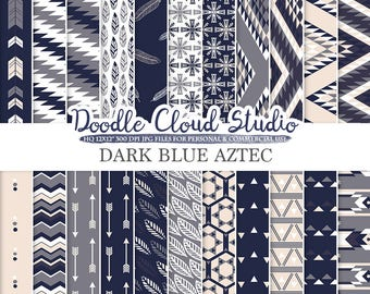 Dark Navy Blue Gray Cream Aztec digital paper, Tribal patterns native triangles geometric ethnic arrows background Personal & Commercial Use