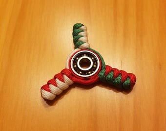 Paracord Fidget Spinner, Red, White and Green, Mexico, Italy, Toy, Relaxing and Calming Uses
