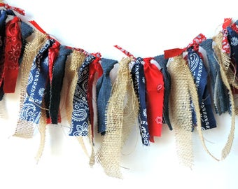 Cowboy Rag Tie Banner,  Fabric Banner, Red and Blue Bunting, Western Rag Tie Banner, Cake Smash, Photo Backdrop,  Farm Party Banner