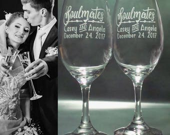 Soulmates Wine Glass Gifts for Couple   Personalized Glasses   Custom Gift   Engagement Party Glasses   Soul mates Wedding Glasses