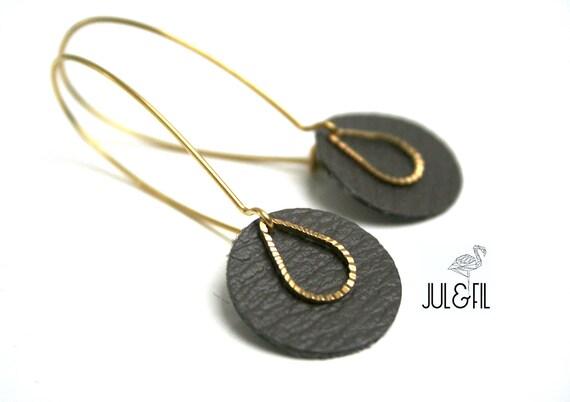 Drop earrings charcoal grey leather moleskin, ridged brass