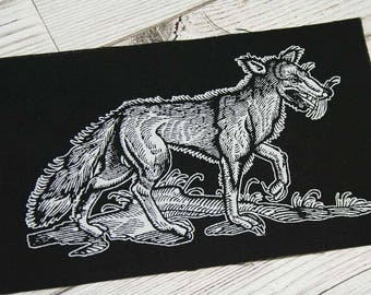 Wolf patch - occult patch, mori patch, nu goth goth patch, pagan patches, witch patch black metal sew on patch, nature punk, forest style