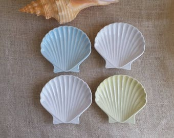 Shell Dishes SMALL PLATES Vintage Ceramic Appetizer Plates Seashell Vintage Dining Beach Decor Beach Dining