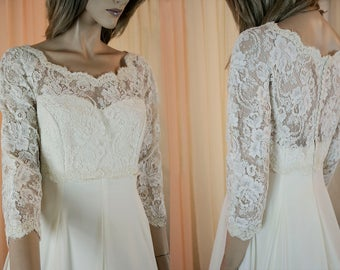 90's Vintage Wedding Dress - Ivory wedding dress from the 1990's – Romantic rebrodè lace bridal gown - Illusion sweetheart neckline dress