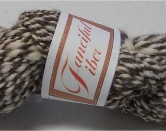 Handspun 100%  Alpaca Yarn 2 Ply  Brown/White Tweed Worsted (H)